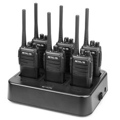 Retevis Two Way Radios Long Range FRS Walkie Talkies Rechargeable Hands Free 2 Way Radios 6 Pack with Six-Way Multi Gang Charger Wireless Headphones For Tv, Running Headphones, Communication System, Two Way Radio, 6 Packs, Walkie Talkie, Scrambler, Charger, Radios