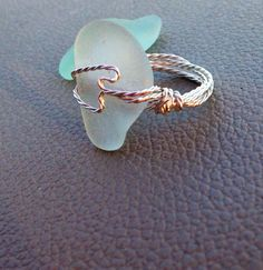 Pale Blue Seaglass Cocktail Ring on Etsy, $20.00