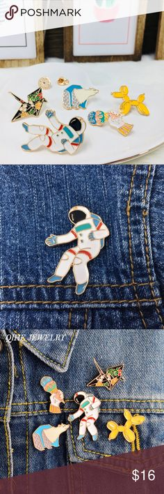 🌈5 Pcs. Lovely Astronaut & Fun Summer Pin Set🌈 ✨Lovely High-quality Hard Enamel Fun Summer, Cute Polar Bear and Cool Astronaut Pin Set. Cool addition on denim jackets, backpacks and more!! Also great as a gift🎁✨   💗Bundle 3 items or more to receive 10% discount  🎁Free 1 pair of mystery earrings with every purchase   🚚Free shipping with an order of $50 or more!! Jewelry Brooches