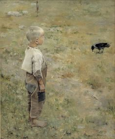 Akseli Gallen-Kallela Boy With a Crow - 1884 (Ateneum Art Museum, Helsinki, Finland) Oil on canvas. Crow Painting, Figure Painting, Google Art Project, Scandinavian Art, Expositions, Oil Painting Reproductions, Art Google, Art History, Art Museum