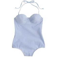 J.Crew Seersucker banded underwire tank (7.580 RUB) ❤ liked on Polyvore featuring swimwear, one-piece swimsuits, swimsuits, bathing suits, swim, underwire swim bra, halter one piece swimsuit, seersucker swimsuit, halter swim top and swimsuit swimwear