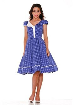 adabff6389 H   R London Dress Blue White Polka Dot Lucy Dress Pinup Rockabilly 2054 - Rockabilly  Clothing