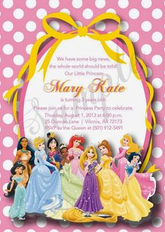 Disney princess birthday invitation card maker free baby shower fiestas infantiles de princesas disney stopboris Images