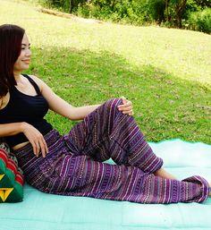 Thai Tribal Yoga Harem Pants Stripe Aladdin women pants Beach Summer pants Boho Gypsy Pants Genie beach fisherman pants by doucefleur on Etsy
