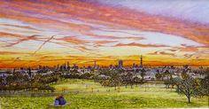 Roger Turner Art - Primrose Hill, London Skyline Sunrise - Artists & Illustrators - Original art for sale direct from the artist Arches Watercolor Paper, Watercolor Paintings, Watercolour, British Holidays, Visit Britain, British Travel, Holiday Lettings, Royal Park, London Property