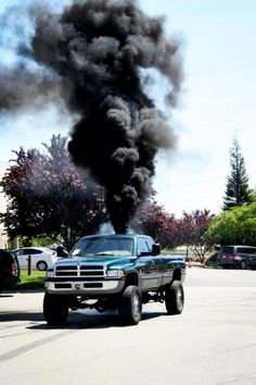 """My goodness... I just love a diesel truck.   Hearing that turbo wind up is music to this girl's ears.   Sigh.This is known as """"rolling coal"""""""