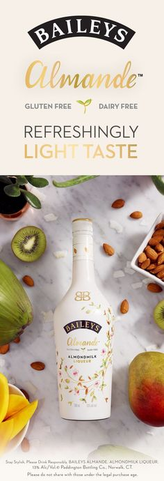 On the rocks, blended, or paired with coconut water, you'll love new Baileys Almande - our dairy free, gluten free, and vegan almondmilk liqueur. This light-tasting blend mixes perfectly with any recipe. Purchase yours today.