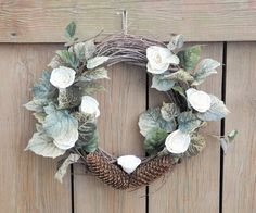 Spring wreath with pine cones and sola roses, summer wreath, front door decor, wreath with roses, Easter wreath, rustic wedding decor