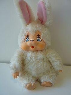 Thumb Sucking ★ White Bunny Rabbit ★ 1980s ★ Monchichi Gonga Chicaboo Style Toy (11/25/2013)