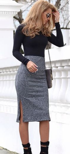 business style obsession: top + skirt + bag