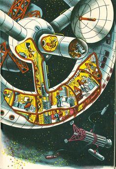 Klušancev-K jiným planetám / To The Other Planets Space Fantasy, Sci Fi Fantasy, Science Fiction Art, Pulp Fiction, Vintage Space, Retro Futuristic, Cutaway, Sci Fi Art, Dieselpunk
