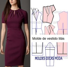 Best 11 Veja a publicação completa no site para ver mais Dress Sewing Patterns, Blouse Patterns, Clothing Patterns, Sewing Collars, Costura Fashion, Mermaid Bridesmaid Dresses, Handmade Dresses, Fashion Sewing, Sewing Clothes