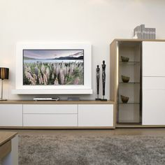 Living Room Cabinets, Living Room Tv, Home And Living, Tv Unit Decor, Tv Wall Decor, Tv Wall Design, Tv Unit Design, Hanging Tv On Wall, Tv Wand
