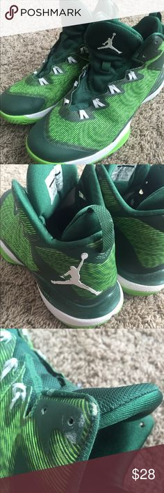 Men's Nike Air Jordan Flight basketball shoes. Sz9 Nike air Jordan flights. Worn for one basketball season by one of my boys and never worn outdoors. Minor wear and some scuffs. Would wash up well with a cleaning cloth. No laces included but forest or neon green laces go well. men's size 9. Jordan Shoes Athletic Shoes