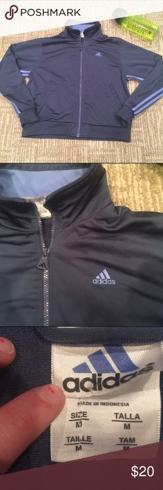 ADIDAS PURPLE BLUE ZIP UP Perfect pre loved condition adidas zip up a charcoal grey -blue purple color with light blue / purple lavender stripes on arm and the adidas logo on front. Super cute , trendy and stylish! Fast shipping follow for deals bundle for discounts! Adidas Jackets & Coats
