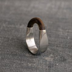 Sterling Silver ring, Silver ring  Leather and Silver ring sterling silver Men's Ring ,Leather jewelery leather ring Solid silver ring