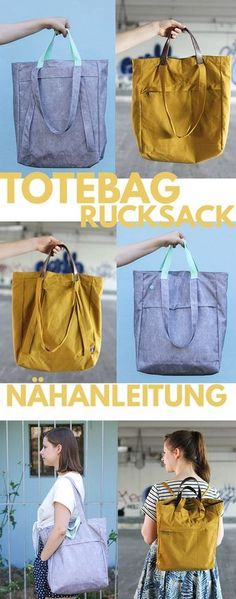 Totebag Tutorial Additional Tutorial for Backpack Bag sewing Sewing Hacks, Sewing Tutorials, Sewing Tips, Diy Rucksack, Diy Accessoires, Diy Mode, Diy Bags Purses, Love Sewing, Dress Sewing