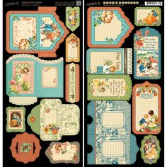 """Graphic 45 Children's Hour Cardstock Die-Cuts 6""""X12"""" Sheets 2/Pkg Tags & Pockets"""