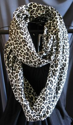 Infinity circle scarf snow Leopard Animal by ScarfLadyDesigns, $25.00