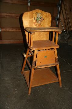 Vintage Collapsible Kroll Wood High Chair Wooden High