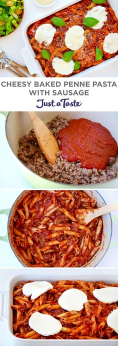 Cheesy Baked Penne Pasta with Sausage recipe - different then mine, might try Z Baked Penne Pasta, Penne Pasta Recipes, Sausage Pasta Recipes, Recipe Pasta, Pasta Dishes, Casserole Recipes, Dinner Party Recipes, Quick Dinner Recipes, Quick Meals