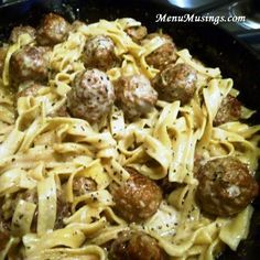 Meatballs Stroganoff - I would use the Aidells caramelized onion chicken meatballs for this recipe. I like that it doesn't call for cream of mushroom soup. Yuck.
