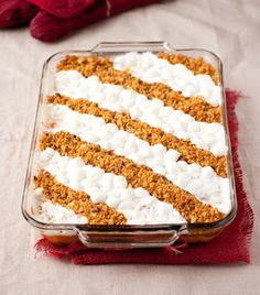 IDEA: Stripe the sweet potato casserole with marshmallows and streusel topping (for those who don't like pecans).