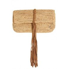 FLORA BELLA Abaco Crochet Raffia Clutch (€195) ❤ liked on Polyvore