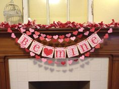 Valentine Decoration Valentines Day banner Be by ClassicBanners, $24.00 - be my valentine - paper heart garland - valentines day decor - valentine chevron banner