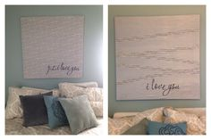 """DIY fabric wall art. I put down music note fabric. Then used washbi tape for the lines and stickers on the bottom. I painted it all silver and then added the """"I love you"""" which is a wall cling. Super easy and cheap but looks great!"""