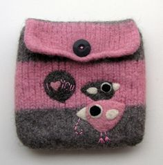 Felted bag wool pouch purse needle felted birds by HandmadebyMia on etsy.