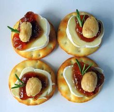Tiny Brie Bites with Fig Jam and Marcona Almonds | 33 Delicious No-Cook Dishes To Bring To A Holiday Party