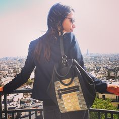 "Luli, founder of Laïta, and her bag ""Aires Pastel"" in Paris"