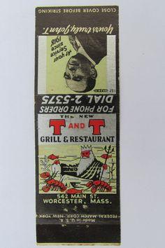 T&T Grill Restaurant Worcester Massachusetts 20 Front Strike Matchbook Cover