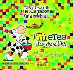 Eres el motivo-Vaca Flora tocando tambor en cumpleaños © ZEA www.tarjetaszea.com