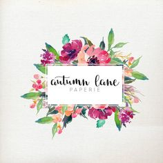 Customizable Floral Logo  Customizable Name  by AutumnLanePaperie