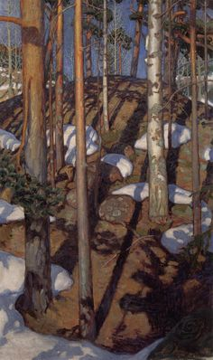 Akseli Gallen-Kallela - Frühling in Kalela Finland Gustav Klimt, Landscape Art, Landscape Paintings, Wassily Kandinsky, Of Wallpaper, Tree Art, Claude Monet, Art Reproductions, Painting Inspiration
