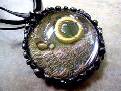 Owl Butterfly Pendant, Real Butterfly Wing Necklace, Eye Spot Pendant