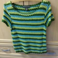 🎀Crochet blue green yellow cotton top🎀 Classic crochet modern design cool cotton top👠🛍☺️Save with bundles 🎀Save💲 10% off bundles - 🛍About bundles🛍: Bundles are individual listings that include multiple items from my closet and are sold to one buyer (so you only have to hit the buy button and pay for shipping once). Saving you 💲💲💲🎀 Josephine chaus Tops Tees - Short Sleeve