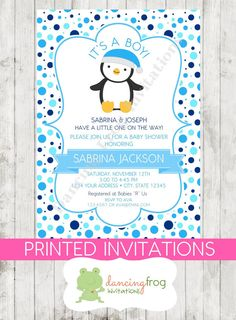 It's A Boy Penguin Baby Shower Invitations by DancingFrogInvites