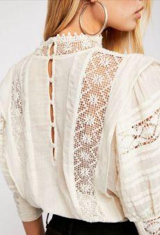Boho Fashion, Vintage Fashion, Fashion Outfits, Womens Fashion, Lace Tops, Chiffon Tops, White Lace Blouse, Jolie Lingerie, Mode Boho