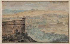 Josua da Grave. Landscape with Fortified Castle, 1671. Ink and watercolor.