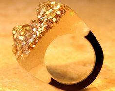 Druzy Agate Ring, Gold Nugget Resin Druzy Ring, Druzy Resin Ring, Unique Modern Jewelry, Faux Druzy Agate Rings, ResinHeavenUSA