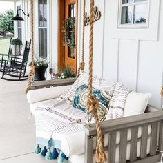 Sunday Porch Swing | Ballard Designs Deck Furniture, Hammock Swing, Porch Swing, Deep Seat Cushions, Front Porch Decorating, Swing, Porch, Ballard Designs, Porch Decorating
