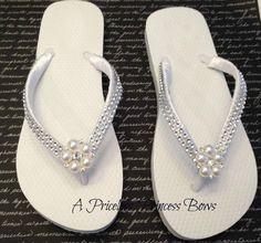 White Satin Wedding Pearl & Bling Flip Flops by APricelessPrincess, $29.95