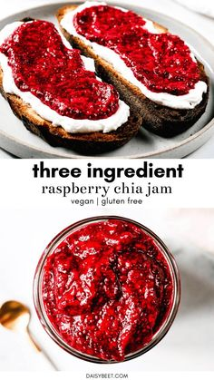 You'll want to put this homemade raspberry chia jam on EVERYTHING. It's incredibly easy to make and full of sweet-tart raspberry flavor. Whole Foods, Whole Food Recipes, Cooking Recipes, Vegan Foods, Vegan Dishes, Health Desserts, Vegan Desserts, Vegan Breakfast Recipes, Vegetarian Recipes