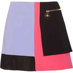 Versace Color-block cady mini skirt featuring polyvore, fashion, clothing, skirts, mini skirts, bottoms, versace, mini skirt, short mini skirts, crinkle skirt and panel skirt