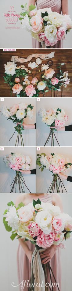 Make your own wedding bouquets with silk flowers from afloral.com. This bouquet is made with pink silk peonies and faux greenery, can you believe it?! Gorgeous! <3 #silkflowers Design by Green Wedding Shoes