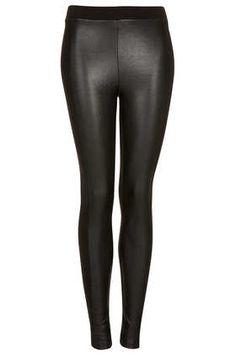 2013 Fall, Top Shop: Leather Look Front Knit Back Leggings - Fashion Leggings - Leggings  - Clothing