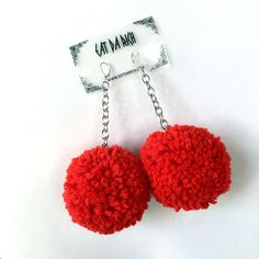 XL Deluxe Pom Pom Earrings - Choose Your Color(s) by EatDaRich on Etsy